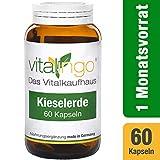 Kieselerde Kapseln vitalingo - Hochdosiert - Inhalt 60 Kapseln  350mg in einem hochwertigen Glasflakon